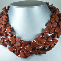 """Chunky Double Strand Necklace Cinnamon Red Jasper 19""""  Semi-Precious Statement Necklace Chain Choker Rust Color Eighties Jewelry"""