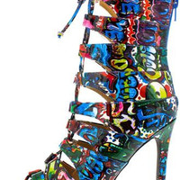 Graffiti Open Toe Ankle Boot