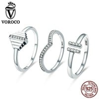 VOROCO Real 925 Sterling Silver Rings Geometric Glitter Jewelry CZ Ring Sets For Women Female Anniversary Party anillos BKR305