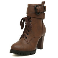 2015 Autumn and Winter Women Boots Ankle Boots Martin Boots Lace-up Boots Plus Size = 1945888836