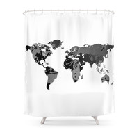 Society6 World Map In Black And White Shower Curtain