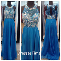 Gorgeous blue beading bodice chiffon prom dress / evening dress / long party dress / long evening dress
