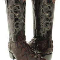 Men's crocodile tail ostrich cowboy boots black cherry leather biker j toe rodeo