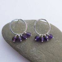 Sterling silver circle and Amethyst Earrings Small Hoops Small Dangle Earrings