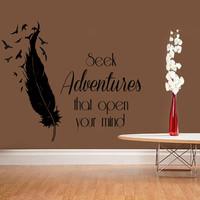 Wall Decal Quote Seek Adventures That Open Your Mind Vinyl Sticker Birds Feather Art Mural Home Boho Decor Living Room Interior Design KI17