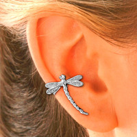 Dragonfly Ear Cuff Sterling Silver- RIGHT ear