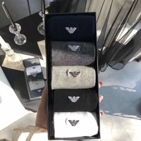 Armani men's boat socks fashion printed socks a box of four pairs of high quality and low price