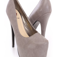 Grey Pointy Closed Toe Platform Heels Faux Leather