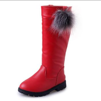 New Girls High Boots Autumn And Winter Korean Fashion Warm Boots Soft Children Princess Boots Kids For Baby