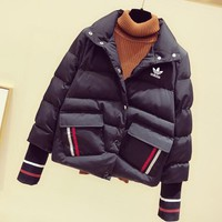 """""""Adidas"""" Women Casual Fashion Multicolor Stripe Long Sleeve Lapel Cotton-padded Clothes Coat"""