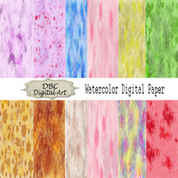 Watercolor digital paper, red watercolor scrapbook paper, blue watercolor paper, scrapbooking, DIY projects, backgrounds, instant download