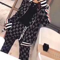 GUCCI New fashion more letter print sports leisure long sleeve top and pants women Black