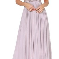 Oure Women Sexy Bohemian Embroidery Backless Pleat Maxi Full Dress (S, Lavender)