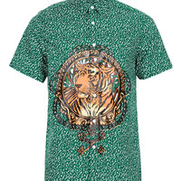 Green Placement Tiger Face Short Sleeve Shirt - Limited Edition - Clothing - TOPMAN USA