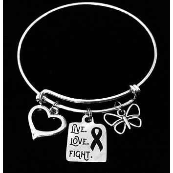 Live Love Fight Awareness Charm Bracelet Silver Expandable Adjustable Bangle One Size Fits All Gift