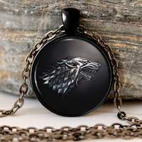 Game of Thrones Necklace Pendant  House of Stark Black Wolf  Pendant Necklace  For Kids