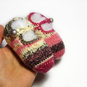 Mary Jane summer booties, Pink striped slippers for babies, newborn to 1 year, choose size