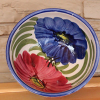 Lovely Ceramic Pottery Serving Bowl, Blue, Red, Pink Flowers