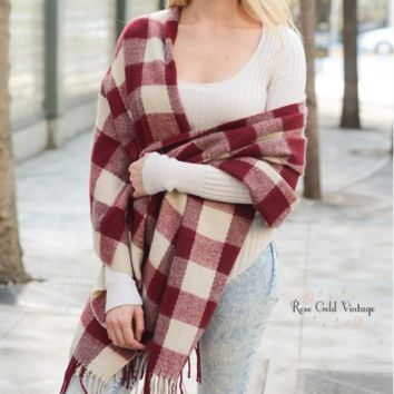 Buffalo Plaid Fringed Scarf - Red