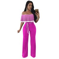 3XL Plus Size Strapless Rompers Womens Jumpsuit Slash Neck Striped Party Overalls 2017 Sleeveless Capes Playsuits Belted Macacao
