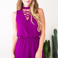 That Perfect Magenta Lace Up Romper