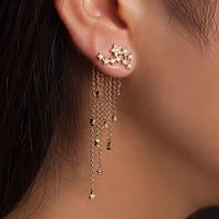 Women Fashion Star Crystal Chain Tassel Pendant Earrings Lady Wedding Party Charm Gold Silver Color Ear Studs Jewelry