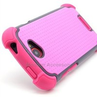 Amazon.com: X Shield Double Layer Hard Hybrid Gel Case Cover For HTC One S / Ville -T-Mobile-Pink: Cell Phones & Accessories