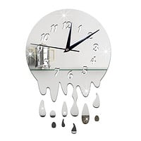 Acrylic Wall Clock Mirror Decoration   silver with scale