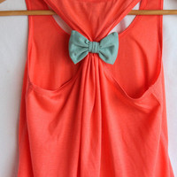 Bow Tank Top  Coral with Teal Bow   - SMALL