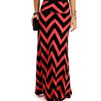 Sale-coral/black Chevron Print Maxi Skirt