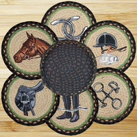 Equestrian Round Trivets in a Basket (Set of 7)