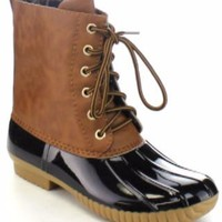 Round Toe Lace Up Duck Ankle Boots