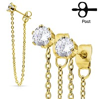 Pair of Chain Drops Prong Set CZ Stainless Steel WildKlass Ear Stud Rings
