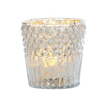 Vintage Mercury Glass Candle Holder (3-Inch, Ophelia Design, Silver) - For Use with Tea Lights