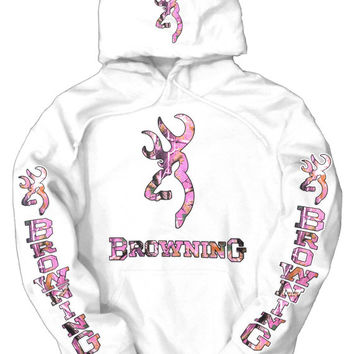 Browning Pink Camo Logos White Hoodie, Buy any 2 hoodies, and get a FREE tee!