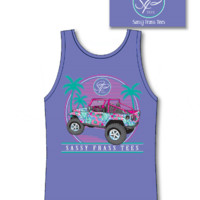 Sassy Frass Collection Jeepin Palm Tree Jeep Comfort Colors Bright T Shirt Tank Top