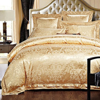 PRINCESS 4 Piece Luxury Bedding Duvet Cover Set - Yellow Gold (KING, QUEEN)