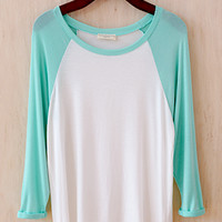 See You At the Ballpark Oversized Raglan Tee, Mint