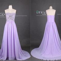 Sweet 16 2014 Purple Sweetheart Beading Rhinestones A Line Court Train Long Prom Dress/Lilac Homecoming Dress/Evening Party Dress DH250