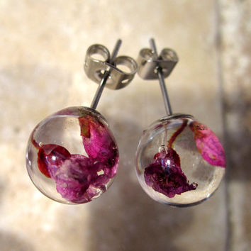 Heather Flower Earrings, stud earring, plant jewelry, flower jewellery