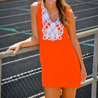Classically Preppy Dress ( Orange and White) - Girly Girl Boutique