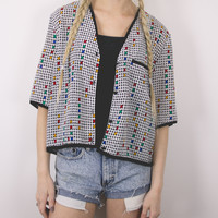 Vintage Colorful Squares Abstract Blouse