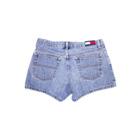 vintage TOMMY HILFIGER denim shorts - 90s - early 00's big logo - womens size 9