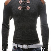 PU Leather Panel Horn Button Long Sleeves Sweater