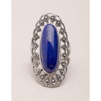 Lapis Silver Filigree Ring - Sizes 7 and 8