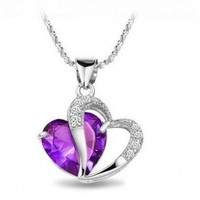 Sterling Silver Purple Crystal Heart Pendant Necklace Best Selling
