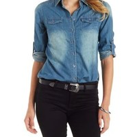 Denim Button-Up Denim Chambray Top by Charlotte Russe
