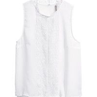 H&M - Sleeveless Top - White - Ladies