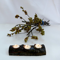 Rustic Wood Trio Candle Holder , Tree Branch Candle Holder  , Wood Tea Light Candle Holder