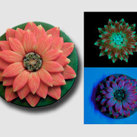 Red Orange and Yellow 3D Flower Pendant EyeGloArts Glow in the Dark Millefiore Jewelry #F2Dec2014